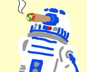 R2D2 smoking a burrito