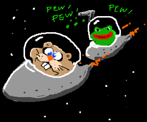 Pepe in spaceship shoots hamster in space ship