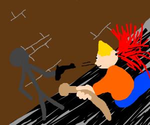 Stickman shoots a real man = blood geyser