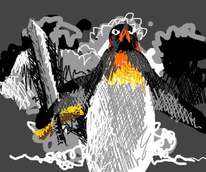 A penguim is going to war