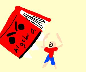 Child getting eaten by an algebra textbook