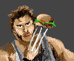 Wolverine eating fast food