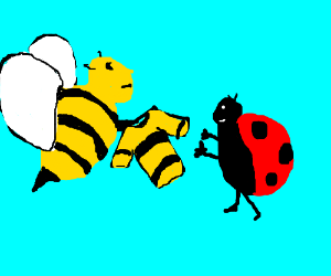 Bee scams a ladybug into buying a shirt