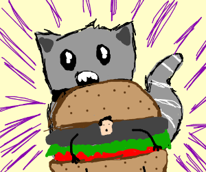 cat with no nose eats angry man burger