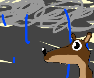 lousy drawing of rain and good one of a deer