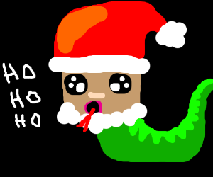 "Snake tongued Santa shouts ""Ho Ho Ho"""