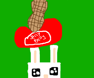 rectangular bunny with jellybean&peanut on top