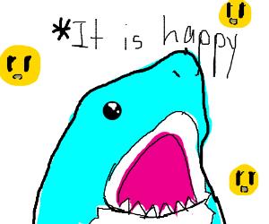 A happy, blue shark