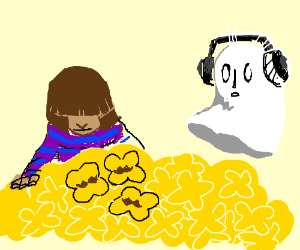Ghost and girl look at flowers with moustache