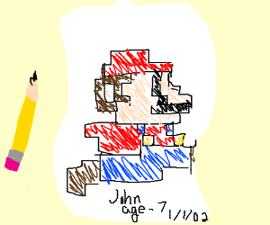 8-bit Mario drawn on a piece of paper
