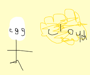 girl with yellowcloud and egg face on ahead