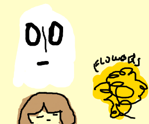 Napstablook and Frisk observing bed of flowers