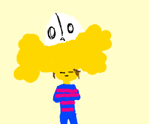 Napstablook on top of Frisk. Yellow... mess.