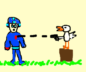 Megaman is shot at by some kind of bird?