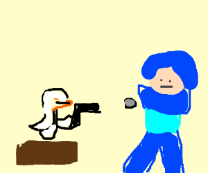 seagull shoots Mega Man while standing on log