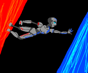 Humanoid robot woman travels from the red dimension to the blue d