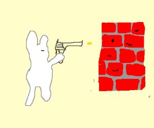 A rabbid is shooting at a brick wall.