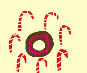 donut = candy cane circle