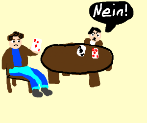 Nina and Hitler play poker.