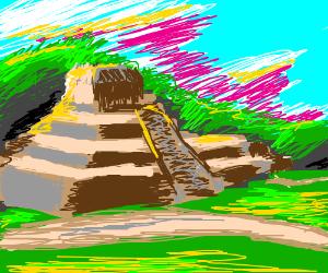 A Mayan temple.