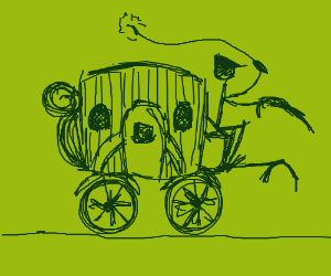 an old fashioned carriage, with no horse
