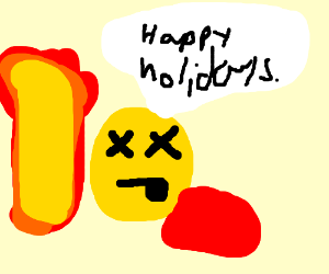 dead smiley says happy holidays with explosion