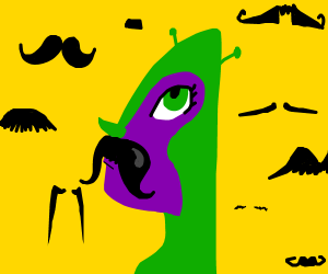 alien learns the finer points of mustaches