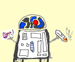 R2D2 smokes a burrito