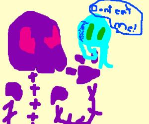 Purple Skeleton eats Blue Squid