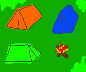 3 tents - orange, blue, green