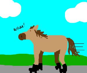 Horse on roller-skates