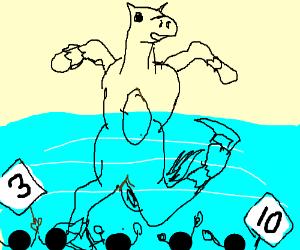 The ice skating horse gave mixed views
