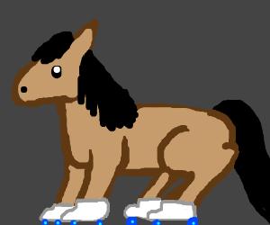 Roller skating horse