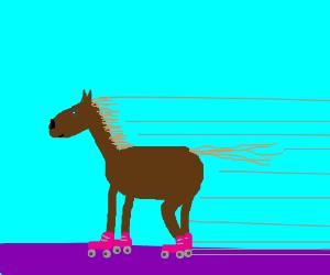A horse on roller-skates