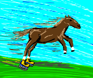 A horse goes fast on rollerblades