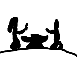 A silouetted negotiation over an anvil