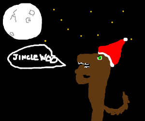 Christmas Werewolf howling at moon