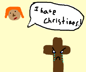Ginger woman is annoyed with Christian.