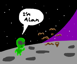 Alien and a swarm of moustaches