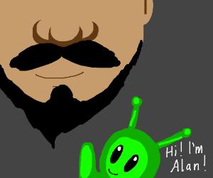 Alan the alien talks to facial hair