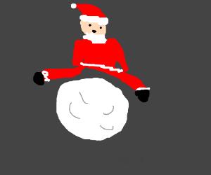 Santa jumping over the Moon