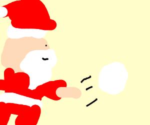 skinny santa straddles large snowball