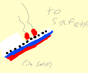 The Titanic Flies to Safety