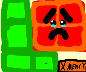 Tetris block begs for mercy