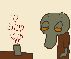 Magical hearts from cup make Squidward sleepy