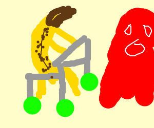 weak and old banana with red ghost