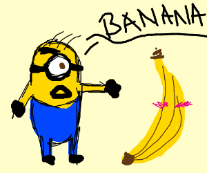 A minion mocks a naked banana