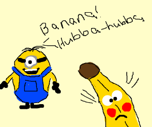 minion likes banana, banana is blushing