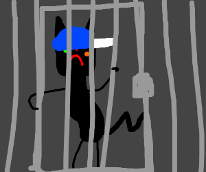 Deformed cat in jail, wearing hat