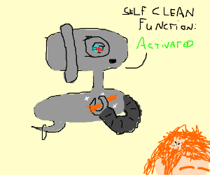 Robot washes with mans long hair